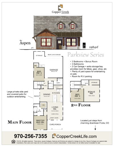 The Aspen floor plan new home construction at Mulberry Street in Fruita Colorado