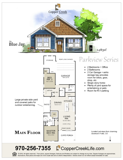 The  Blue Jay floor plan new home construction at Mulberry Street in Fruita Colorado