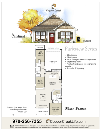 The Cardinal floor plan new home construction at Mulberry Street in Fruita Colorado